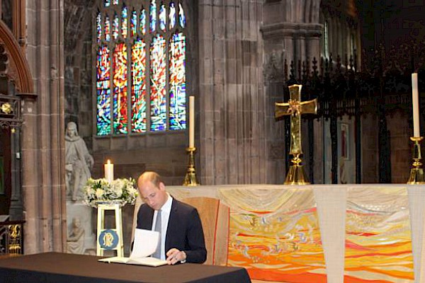 The Duke of Cambridge visits Manchester Cathedral